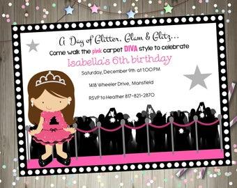 Hollywood diva birthday party invitation invite hollywood party glamour party diva party dress up party  invite digital diy party printable