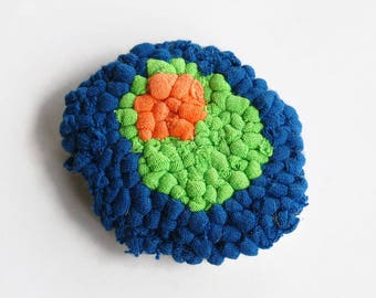 Nucleus Lapel Pin, Rug Hooking, Science Gifts, Tshirt Yarn, Fiber Art, Last Minute Gifts, Ready to Ship
