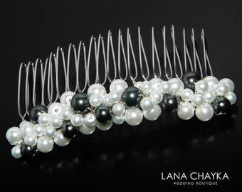 White Black Pearl Bridal Hair Comb, Wedding Hair Comb, Swarovski Black Pearl White Glass Pearl Hair Piece Pearl Headpiece Pearl Hair Jewelry