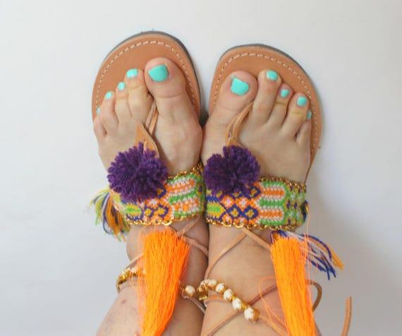 SALE!Leather gladiator sandals/ sale size 38 US 7-7.5 pom pom sandals boho sandals