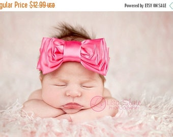 12% off Baby headband, newborn headband, adult headband, child headband and photography prop The single sprinkled BAM-BAM satin BOW headband