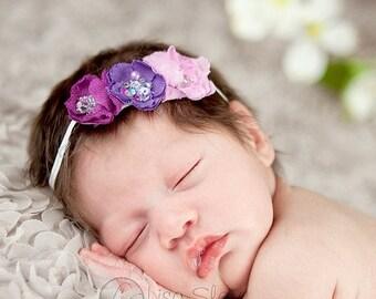 12% off Baby headband, newborn headband, adult headband, child headband and photography prop The triple sprinkled- Sparkle flowers headband