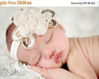12% off Baby headband, newborn headband, adult headband, child headband and photography prop The single sprinkled- Daisy chiffon headband