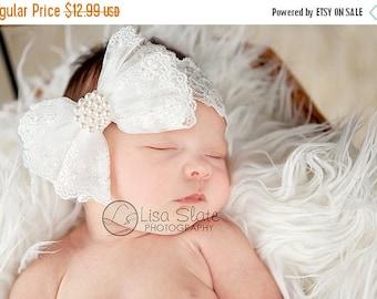 12% off Baptism headband, Baby headband, newborn headband, adult headband,  and photography prop The single sprinkled- ALL LACE bowheadband