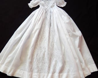French Handmade Christening Gown with Exceptional Embroidery