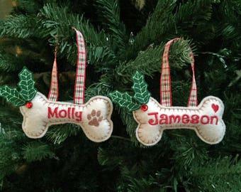 Personalized Dog Ornament, Dog Christmas Ornament, Dog Bone Christmas Ornament, Pet Christmas Ornament, New Puppy Ornament, Felt Dog Bone