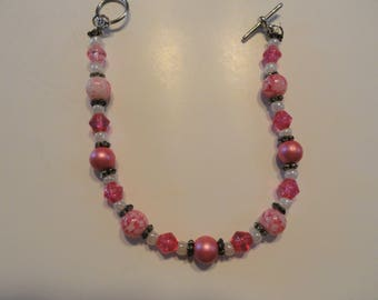 Pink Pearl, Pink and White Beads with Spacer Necklace