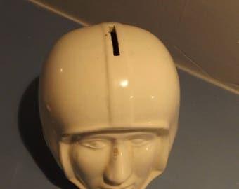 vintage, football helmet, ceramic bank, promotional, advertising, Joe nameth, vintage football,bank,football, boys room decor