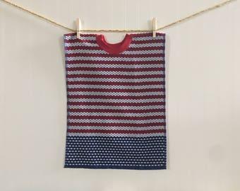 Towel Bib, red, white, and blue toddler bib, pull over towel bib, terry towel bib, american flag, baby gift, baby feeding, large bib, baby