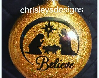 Believe gold glass ornaments
