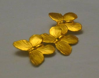 Vintage Brushed Gold Tone Three Butterflies Brooch, 1980s