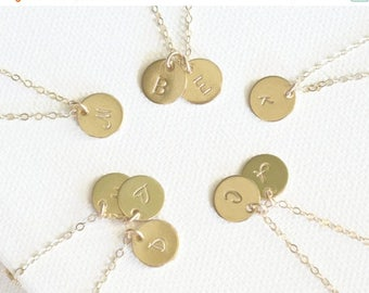 SALE - Tiny Personalized Disc Jewelry, 1 2 3 4 5 6 7 8 Initial Discs Necklace, 14k Gold FIll, Initial Disc Necklace, Monogram Necklace, Best