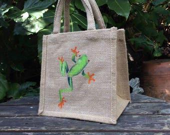 Tree Frog hand painted little jute bag