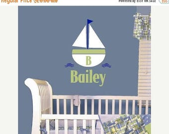 20% OFF Sailboat and Name- children  Vinyl Lettering wall  art words  graphics kids  decals  bedroom Home decor itswritteninvinyl