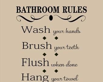 20% OFF Bathroom Rules - Vinyl Lettering wall words graphics  decals  Art Home decor itswritteninvinyl