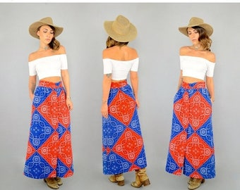 SUMMER SALE 70's Bandana Maxi Skirt