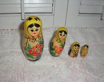 Russian Babushka Nesting Dolls Hand Made Wood Hand Painted (4in Set)