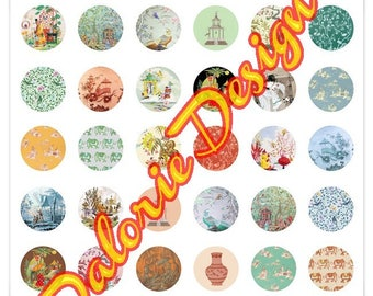 Plate 25 mm, China, Collage, Digital images - themed China for round cabochons