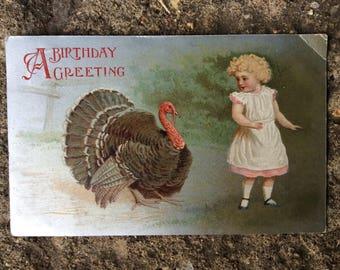 Vintage Birthday Postcard - Antique Birthday Postcard - Animal Turkey Postcard - Vintage Greetings Card - Vintage Children