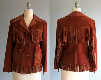 Vintage 1950's Whiskey Colored Deerskin Leather Fringe Jacket, Women's Small- Medium, Cowboy Western Wear Motorcycle