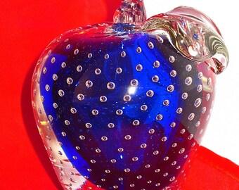 Vintage, Large Blown Glass Apple, Cobalt Blue, Art Glass, Venetian Glass, Controlled Bubbles, Décor, Elegant Glass, 2 Pounds, Paper Weight