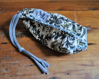 Boho Drawstring Pouch Purse/Hand Stitched Kanji Reticule Bag in Sage /Cell Phone Mini Bag