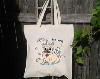 Pug Tote Bag, Reusable Tote Bag, Unicorn Pug , Grocery Bag, Dog Tote, Unipug
