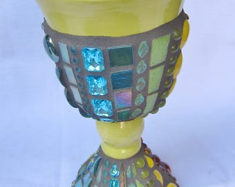 Mosaic Chalice Goblet Light Green