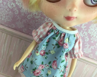 Blythe Smock Dress - Blue and Pink Floral