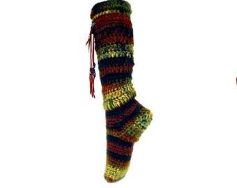 """Slipper Socks Women, 15"""" Tall With Leather Wrap, Handmade Socks, Women's Slipper Socks, Hippie Clothes, Chunky Socks, Warm Socks, Thick Sock"""