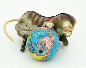 Vintage World Globe with Cat Rolls Over - Free Lower 48 Shipping!
