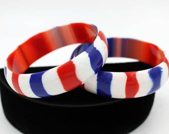 Striped Lucite Bangle in Patriotic Colors - 2 Available