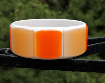 Wide Creamsicle Lucite Bangle by Best Plastics - Orange and White Moonglow