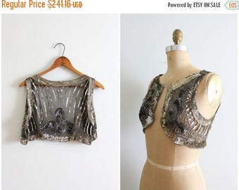 SALE SALE antique 1920s sequined French flapper vest - beaded net flapper vest / 1910s - 20s ladies waistcoat / black silver & gold sequin f