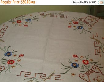 """MINT, Hand Embroidered, Lovely VINTAGE Linen TABLECLOTH w/Asian Flair - 33"""" x 33"""" - Treasury Item"""