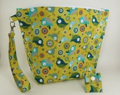 """Knitting Project Bag - Large Zipper Project Bag """"Birdie Toss"""" (Wedge Style):  with detachable handle! (""""10 x 13"""" x 5"""" base) (C.5)"""