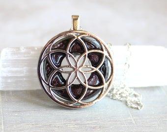 wine seed of life necklace, sacred geometry, spiritual jewelry, meditation jewelry, chakra necklace, yoga jewelry, unique gift