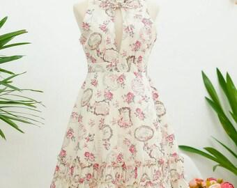 Sweet sundress floral dress creamy white dress spring summer sundress ruffle neck dress white bridesmaid dresses floral bridesmaid dress