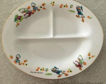 Vintage Disney Donald Duck Huey Dewey and Louie Childrens Divided Plate Sango Japan