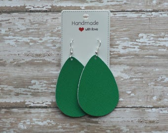 Green Kelly Green Saffiano Leather Teardrop Drop Earrings