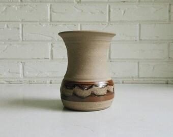 Vintage Handmade Natural Ceramic Vase - Earthy Bohemian Pottery - Rustic Farmhouse Decor