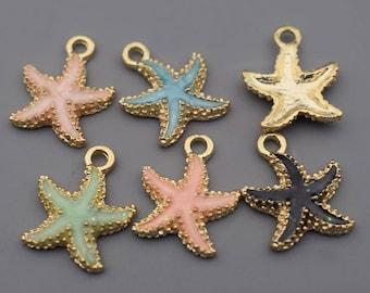 Starfish Charms-10pcs Enamel Starfish Charm, Sea Starfish Charm, Hot Summer Charms Beach Charms Jewelry Supplies, Findings
