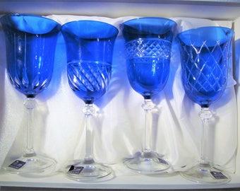 Vintage 4 Le Stelle Italy Crystal Cobalt Blue Cut Water Brigitta Glasses