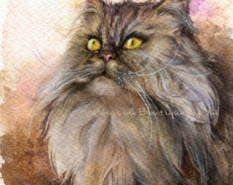 PRINT –Cat Watercolor painting 7.5 x 11""