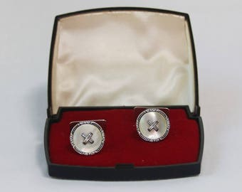 Vintage 835 Silver and Mother of Pearl Button Cufflinks in Original Box.