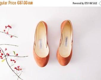 Summer Sale The Nubuck Ballet Flats | Cognac Brown Ballet Shoes | Casual Wear Leather Ballet Pumps in Terra Cotta