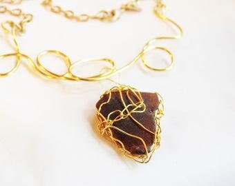 Lake Michigan Sea Glass Jewelry, Gold Wirecrochet, Golden Seaglass Necklace, Genuine Amber Beachglass, Artistic Statement Seaglass, Unique