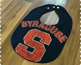 Syracuse Baby Bib, Recycled T-Shirt Baby Bib, Syracuse NY, Syracuse University, Syracuse Sports, Gender Neutral Baby Shower Gift