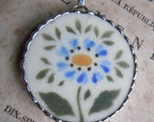Fiona & The Fig Antique Circa 1920s Era - Hand Painted - Blue Flower - Broken China - Soldered Necklace Pendant Charm- Jewelry