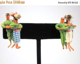 25% Off Primitive Miniature Handmade Doll Earrings, Screw Backs